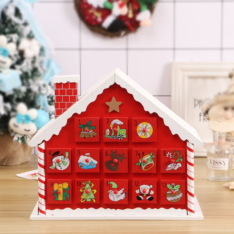 Christmas Snow House Wooden Advent Calendar Countdown Decoration
