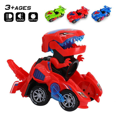 Red Transforming Dinosaur LED Car For Kids