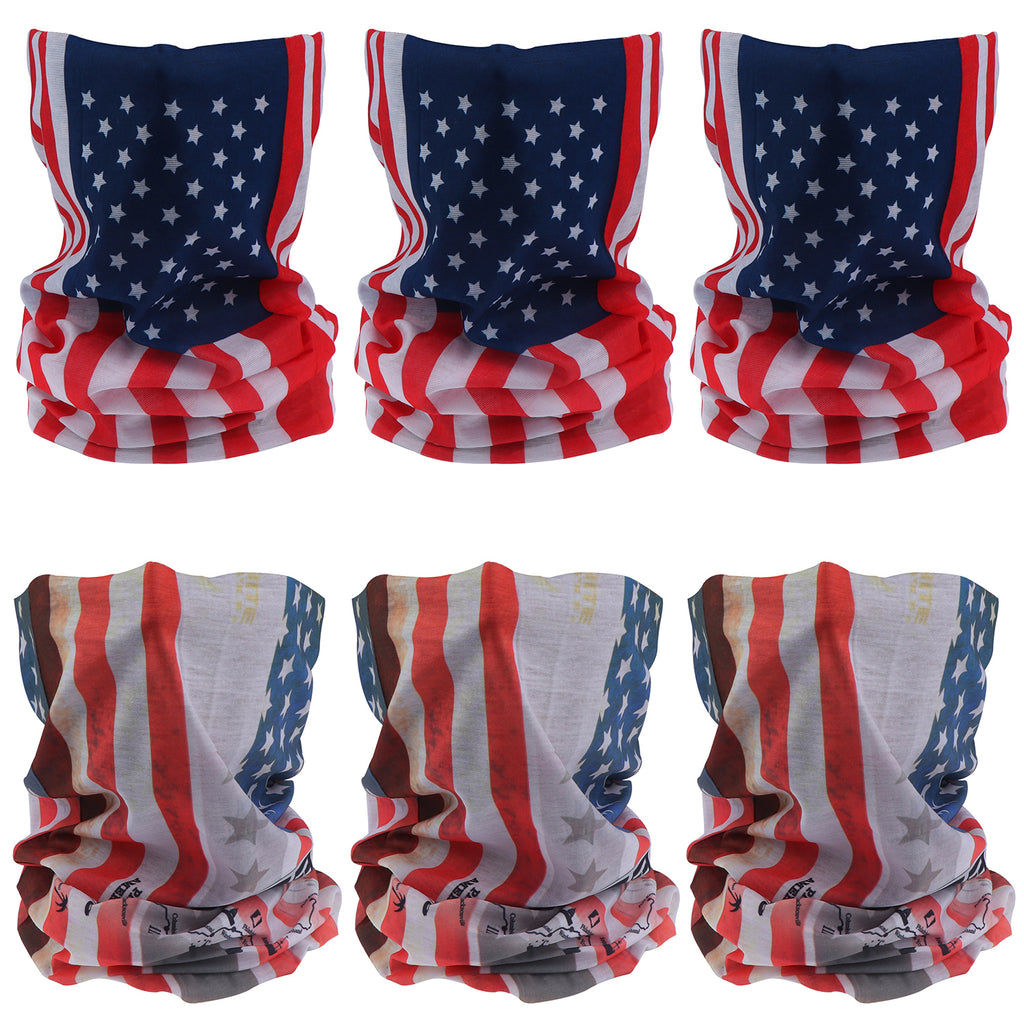 Summer UV Protection Neck Gaiters Bandana for Women and Men, 6pcs