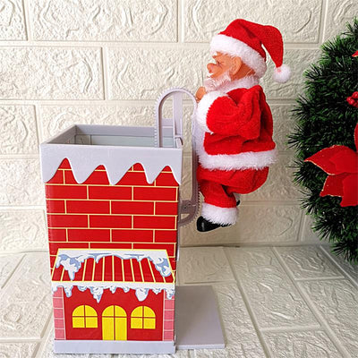 Chimney Santa Claus Climbing A Ladder Christmas Tree Decorations