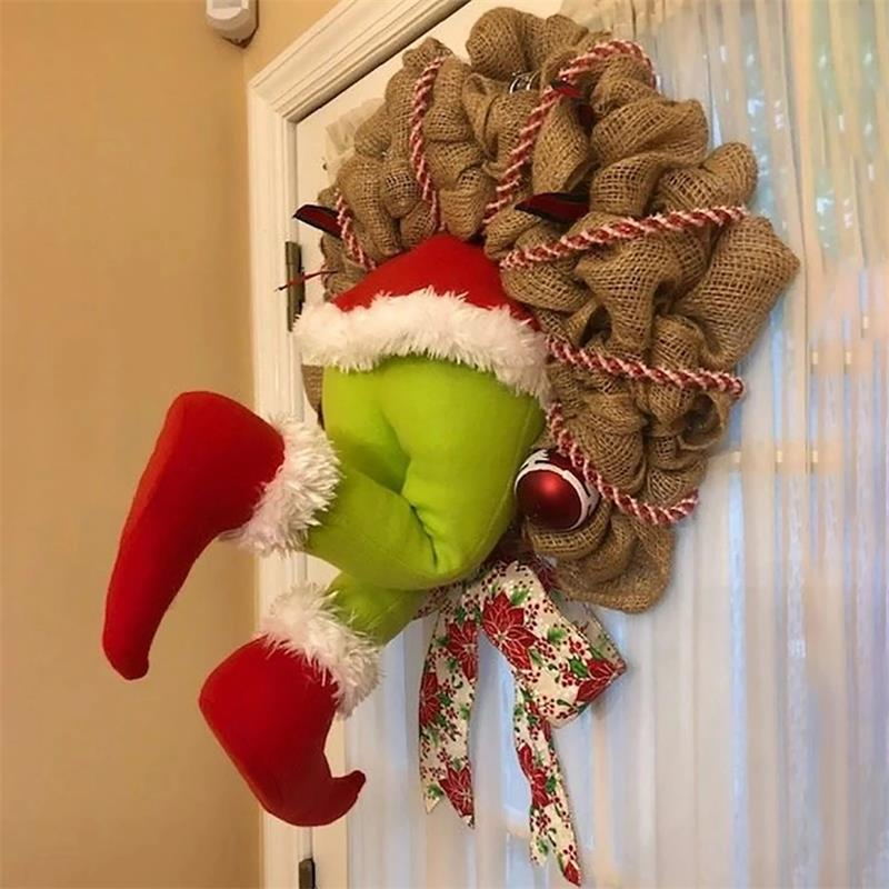 The Grinch Stole Christmas Door Decoration Burlap Wreath