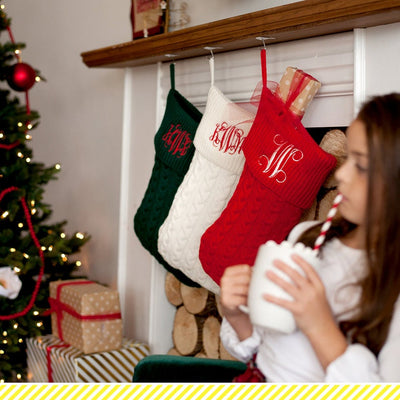 Embroidered Christmas Cable Knit Stockings