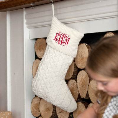 White Embroidered Christmas Cable Knit Stockings