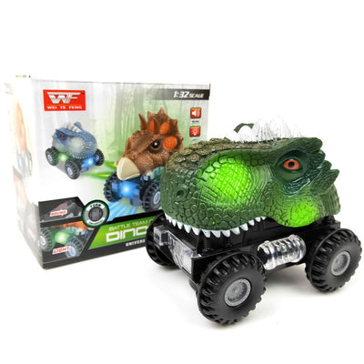 Green LED Electric Dinosaur Car Toy For Kids With Box