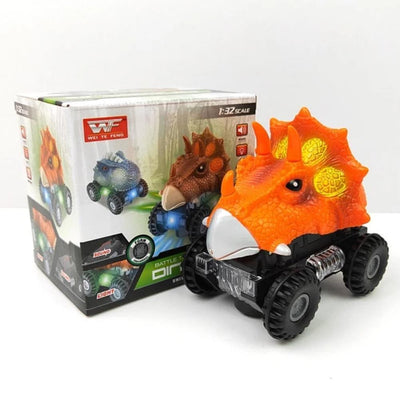Orange LED Electric Dinosaur Car Toy For Kids