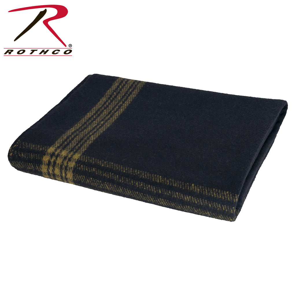 Navy With Gold Stripe Wool Blanket - selfreliancestore.com