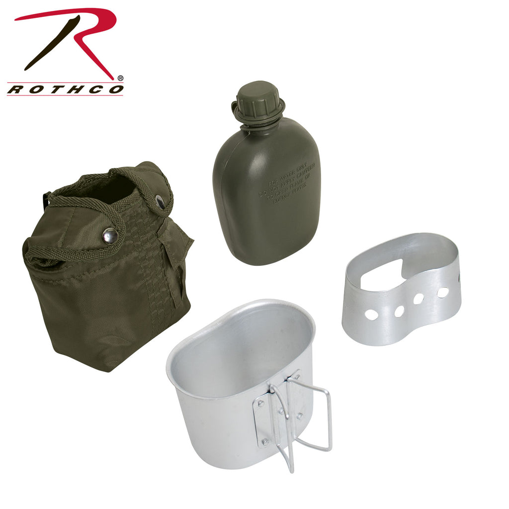 4 Piece Canteen Kit With Cover, Aluminum Cup & Stove / Stand - selfreliancestore.com