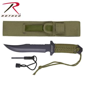 Rothco 7 Inch Paracord Knife with Fire Starter - selfreliancestore.com