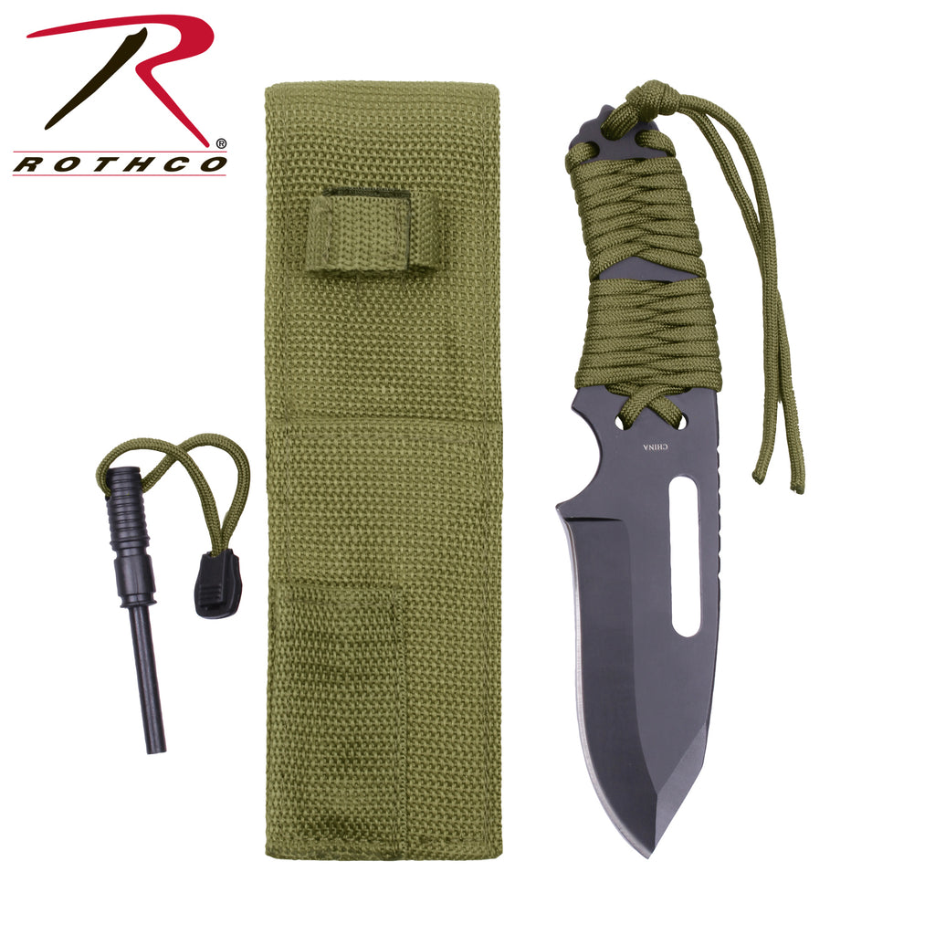 Rothco Large Paracord Knife With Fire Starter - selfreliancestore.com