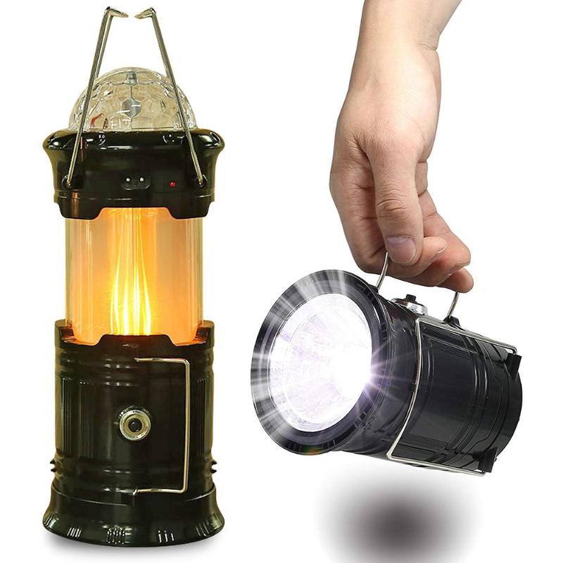 Solar Powered Portable Collapsible LED Flashlight Stage Light Flame Effect Lamp Outdoor Camping Hiking Tent Lantern EU Plug Gear - selfreliancestore.com