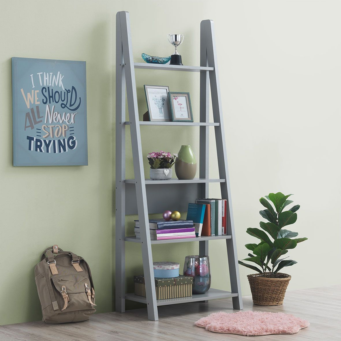 Riva Scandinavian Retro Ladder Bookcase Desk Shelving Shelf Unit Oak 5 Tier