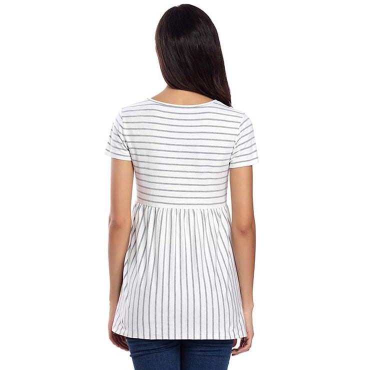 White With Grey Stripes Top