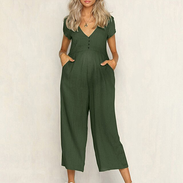 Khaki Button Detail Jumpsuit