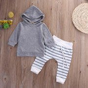 Grey Hoodie & Striped Bottoms