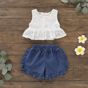 Lace Top & Denim Shorts Set