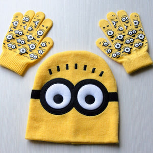 3pcs/set  Despicable Me Minions Gloves +Hat Set
