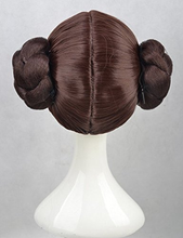 Load image into Gallery viewer, Star Wars Princess Leia Organa Wig Cosplay Wigs Hair With Two Buns + Wig Cap