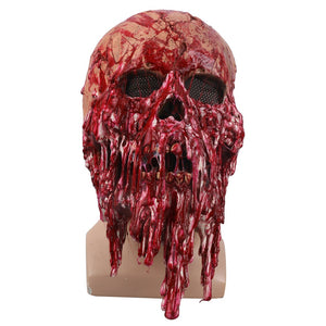 Blood Color Skull Skeleton Cosplay helmet Latex Full Head Zombie Scary Horrible Helmet Party Halloween Fancy Dress