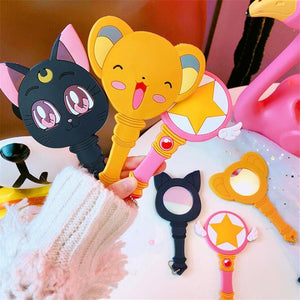 Anime Sailor Moon Pink Princess Magic Wand Cosmetic Mirror Cosplay Costumes Props