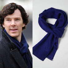 Load image into Gallery viewer, Cosplay  Sherlock Holmes Navy Blue Muffler Scarf With Tasseled Ends Cosplay Costume Gift