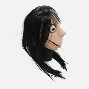 Funny Scary Momo Hacking Game Cosplay Halloween Latex Helmet with Wigs