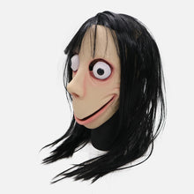 Load image into Gallery viewer, Funny Scary Momo Hacking Game Cosplay Halloween Latex Helmet with Wigs