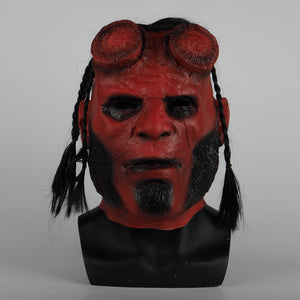 Hellboy helmet Latex Masquerade Carnival Costume helmet Hood Cosplay helmet Halloween Party Prop