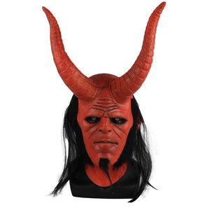 New Movie Hellboy: Rise of the Blood Queen helmet Ox Horn  Right Hand Cosplay Gloves Armor Latex Hand Gauntlet Party Halloween