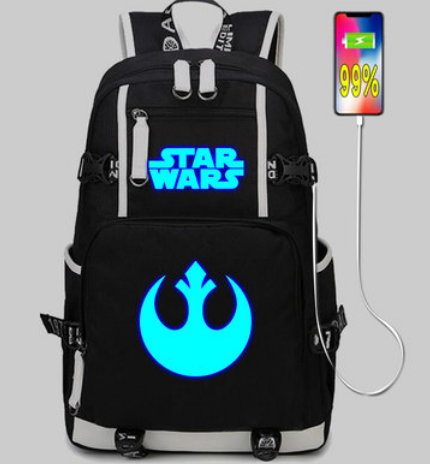 Star Wars Cosplay backpack School Bags USB Charging Port noctilucence backpack