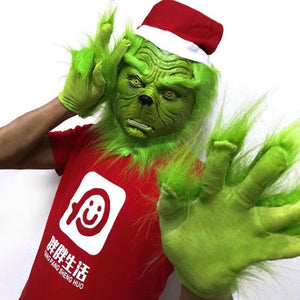 How The Grinch Stole Christmas  Helmet Cosplay Christmas Latex Helmet Gloves Prop