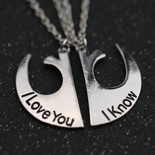 Load image into Gallery viewer, Movie Star Wars Necklace Rebel Alliance Badge I Love You I Know Silver Color Pendant