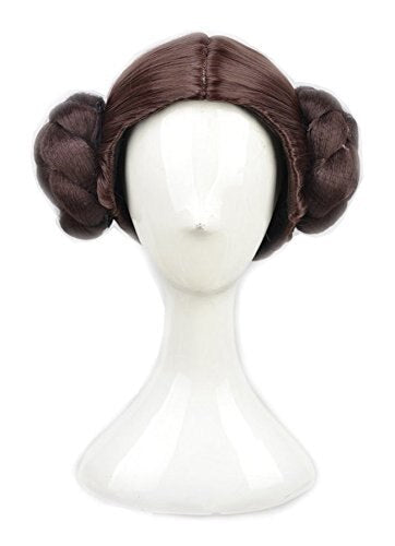 Star Wars Princess Leia Organa Wig Cosplay Wigs Hair With Two Buns + Wig Cap