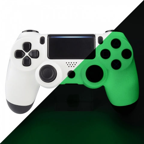 PS4 Controller Front Shell - White & Green Glow in the dark - DevineCustomz customized controllers repairs parts