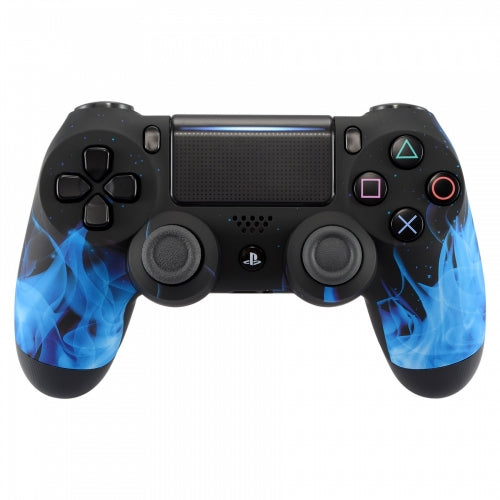 PS4 controller -Black and Blue Flame - DevineCustomz customized controllers repairs parts