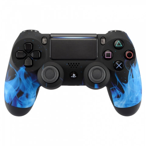 Customised PS4 controller Version 2 Black and Blue Flame - DevineCustomz customized controllers repairs parts
