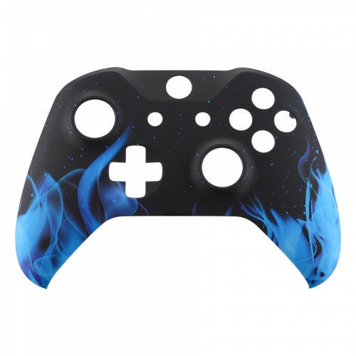 Xbox One Custom Black Blue Flames Wireless Controller Front Shell - DevineCustomz customized controllers repairs parts