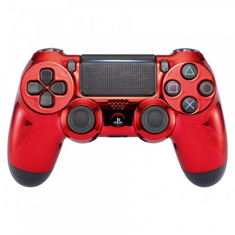 Customised PS4 controller Version 2 Chrome Red - DevineCustomz customized controllers repairs parts