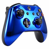 Xbox One Chrome Blue Wireless Controller Front Shell - DevineCustomz customized controllers repairs parts