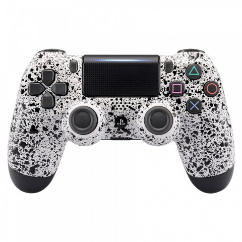 PS4 controller - White & Black Splatter - DevineCustomz customized controllers repairs parts