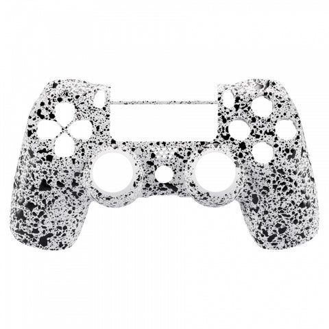 PS4 Controller Front Shell - White & Black Splatter - DevineCustomz customized controllers repairs parts