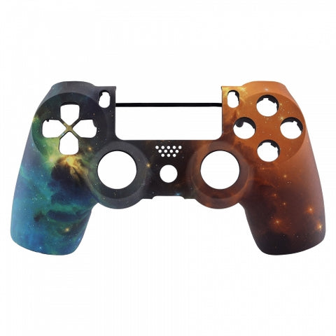 PS4 Controller Front Shell - Green & Orange Galaxy - DevineCustomz customized controllers repairs parts