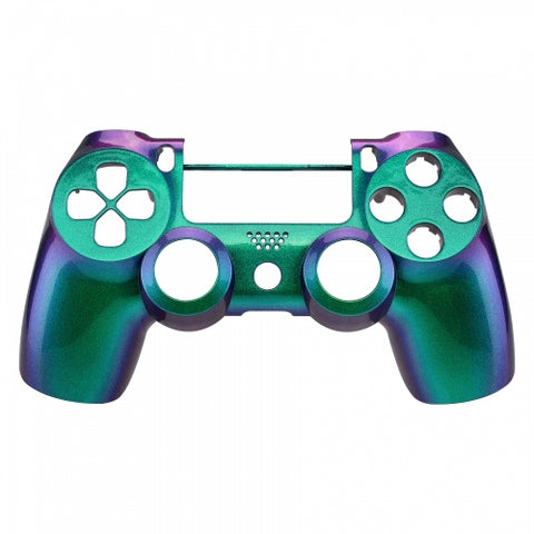 PS4 controller Front Shell-Chameleon Green & Purple - DevineCustomz customized controllers repairs parts