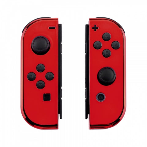 Nintendo Switch Joy-Con  Chrome Red Shell - DevineCustomz customized controllers repairs parts