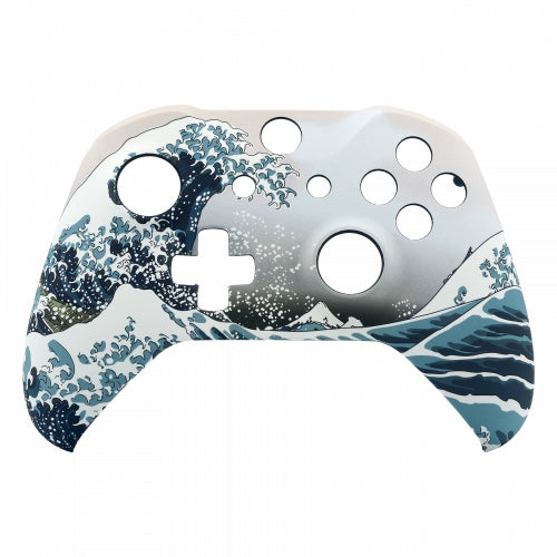 Xbox One Custom White & Blue Sea Waves Wireless Controller Front Shell - DevineCustomz customized controllers repairs parts