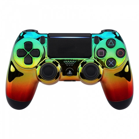Customised PS4 controller Version 2 Green,Orange & Red Rasta Fade - DevineCustomz customized controllers repairs parts