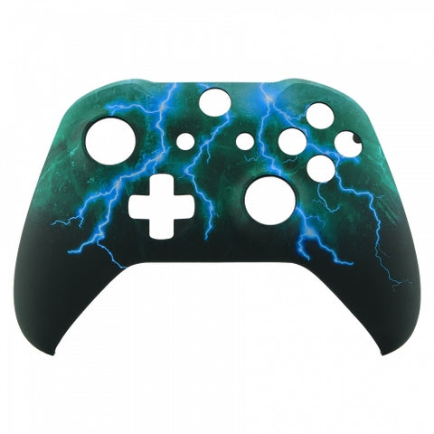 Xbox One Green & Blue Lightning Storm Wireless Controller Front Shell - DevineCustomz