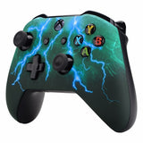Xbox One Green & Blue Lightning Storm Wireless Controller Front Shell - DevineCustomz customized controllers repairs parts