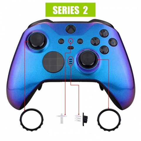 Xbox One Elite Series 2 Chameleon Blue Purple Front Shell - DevineCustomz customized controllers repairs parts