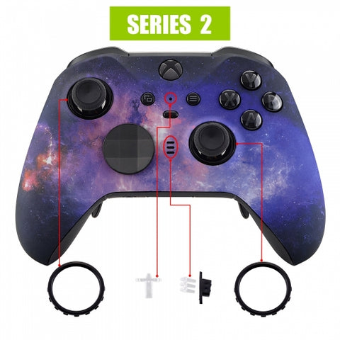 Xbox One Elite Series 2 Purple Galaxy Front Shell - DevineCustomz customized controllers repairs parts