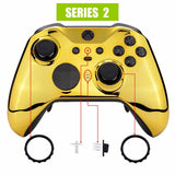 Xbox One Elite Series 2 Chrome Gold Front Shell - DevineCustomz customized controllers repairs parts